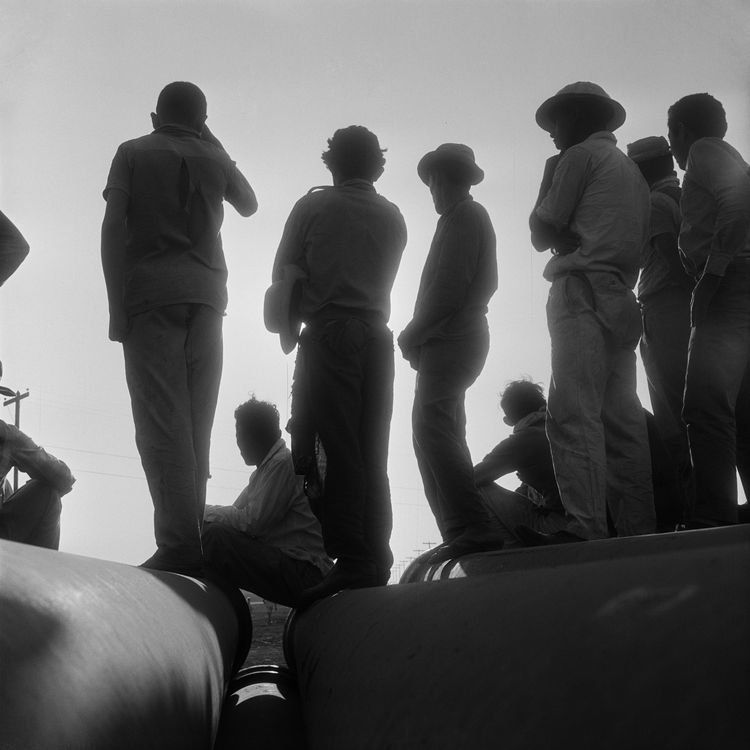 A group of workers at rest on large pipes. Photo by Gervasio Batista.