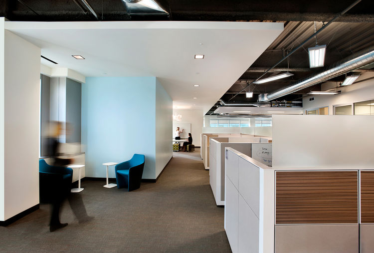 """The LEED Gold project features """"teaming areas"""" (shown here) for group collaboration."""