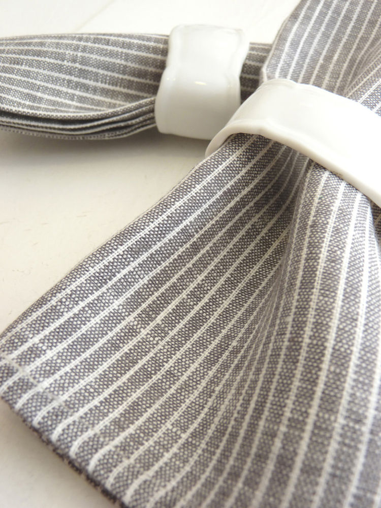 """Linen Napkins designed by Yumiko Sekine for Fog Linen. """"We love the simple design of these Fog Linen napkins."""" Available at <a href=""""http://brookfarmgeneralstore.bigcartel.com/product/photographic-trays"""">Brook Farm General Store</a>."""