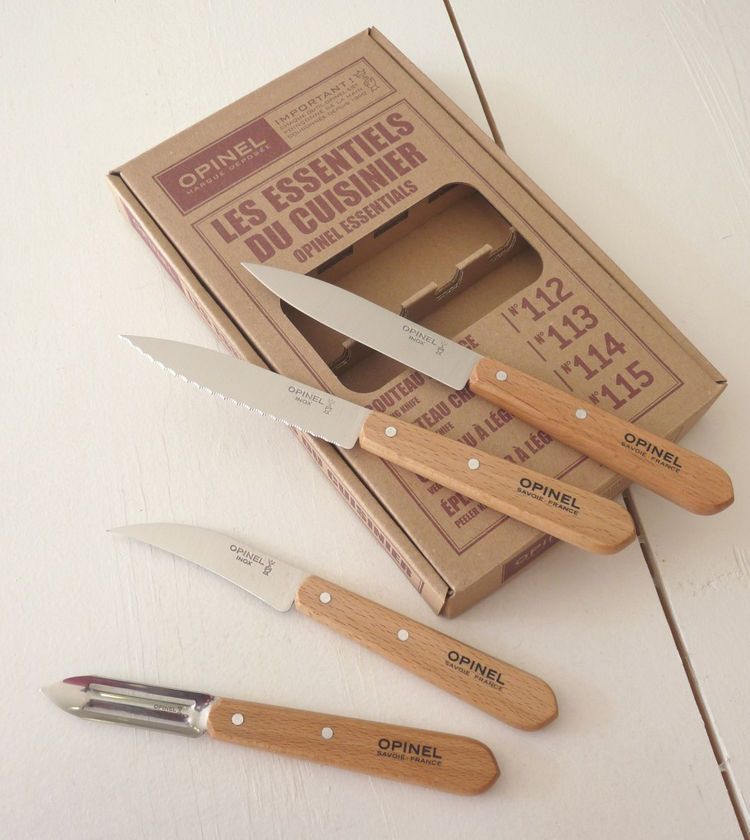 "Kitchen Knife Set by Opinel. ""Opinel is a French company that has been making knives since 1895. This kitchen set includes knives for paring, coring, slicing and peeling."" Available at <a href=""http://brookfarmgeneralstore.bigcartel.com/product/opinel-kit"