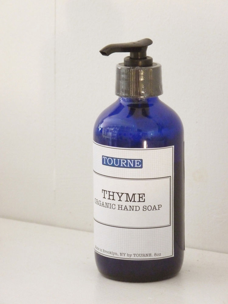 "Organic Hand Soap by Tourne. ""Tourne is our own line of handmade products. This liquid soap is made using pure essential thyme oil. It smells delicious and keeps your hands soft and moisturized."" Available at <a href=""http://brookfarmgeneralstore.bigcarte"