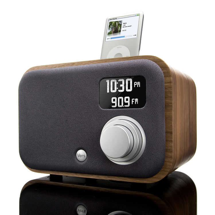 "Clock Radio by Vers Audio. ""These clock radios are handmade using renewable woods. The sound quality is excellent, and you can also play music from your ipod or iphone."" Available at <a href=""http://brookfarmgeneralstore.bigcartel.com/product/vers-1-5r-ra"
