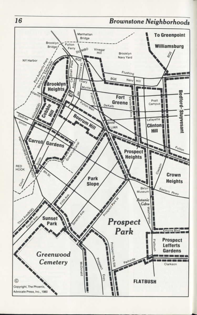 """A 1980 map of """"brownstone neighborhoods"""" from the Brooklyn Phoenix Brownstone Guide. Many of these neighborhood names were coined by brownstoners in the 1960s and 1970s. (courtesy of the Brooklyn Phoenix)"""