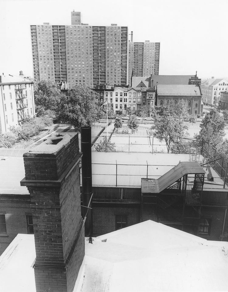 """The modernist towers of University Terrace soar above the nineteenth-century landscape. Title I developments like this sparked local efforts to protect """"Clinton Hill"""" from urban renewal. World-Telegram & Sun, October 5 1964. (courtesy of the Library of Co"""