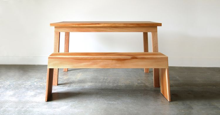 Like the Vollen bench, the Vollen table is built using shouldered lap joints and solid Pacific Northwest hardwood. Chadhaus designed the table to be a contemporary take on a traditional dining table.