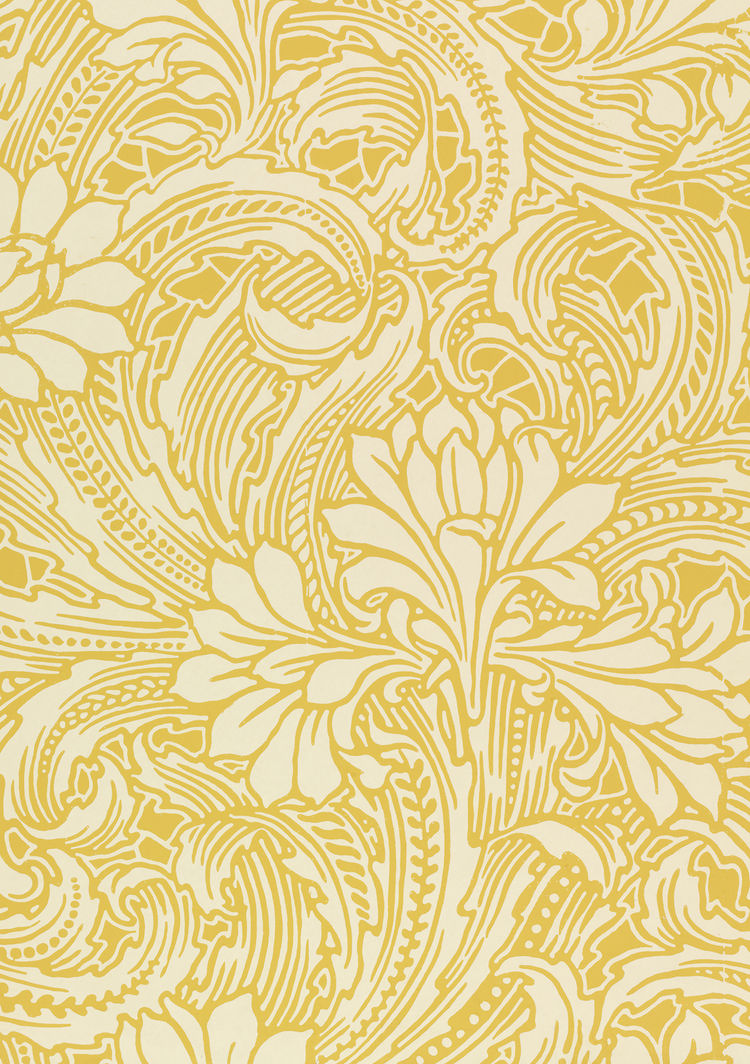 <i>Cactus</i>, wallpaper. Lewis Foreman Day/Jeffrey & Co. Color machine print on paper.UK. c. 1887-1900 (V&A: E.23097-1957). From <i>V&A Pattern Series II: Garden Florals</i> published by V&A Publishing and Abrams Books.