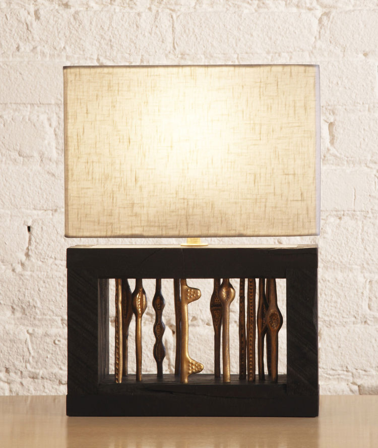 """The Calliope lamp was inspired by Louise Nevelson and Louise Bourgeois (""""my heroes,"""" says Anton). She named the piece after it was finished because it resembled the instrument, or perhaps even the lyre often held by the Greek goddess.<br /><br />Photo by"""