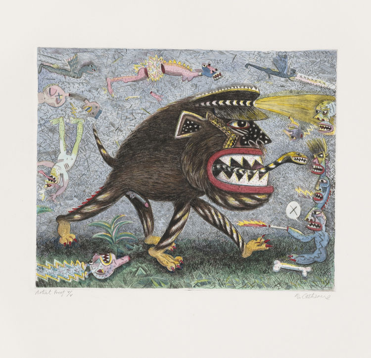 "Norman Catherine. (South African, born 1949). <i>Witch Hunt</i>. 1988. One from a series of six drypoints with watercolor additions, plate: 9 13/16"" × 12 3/16"". Image courtesy MoMA."