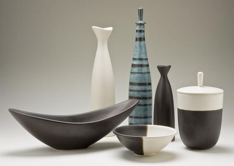 Selection of functional ceramic vessels, slip-cast earthenware, Jerome Ackerman, 1953-59.