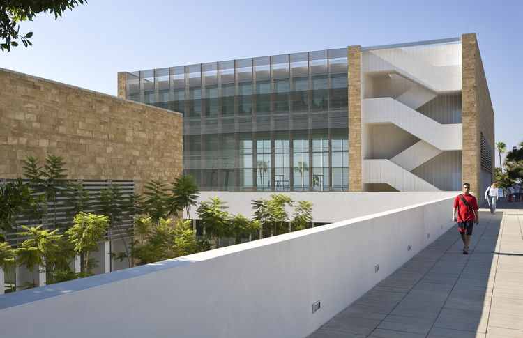 "Charles Hostler Student Center (exterior view) in Beirut, Lebanon, by <a href=""http://www.vjaa.com"">Vincent James Associates Architects</a>. Photo by Paul Crosby."
