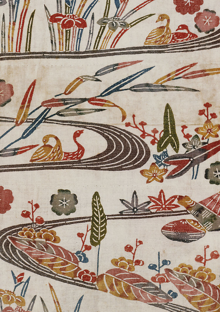 Child's kimono, plain weave bast fiber with stenciled decoration. Okinawa, Ryukyu Islands, 1870-1910 (V&A: T.19-1963). From <i>V&A Pattern Series II: Kimono</i> published by V&A Publishing and Abrams Books.