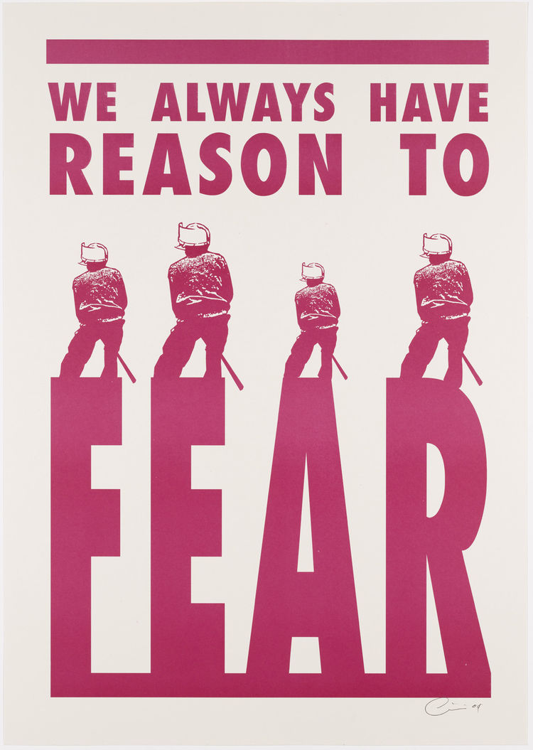 "Kudzanai Chiurai. (Zimbabwean, born 1981). <i>We Always Have Reason to Fear</i>. 2008. Two lithographed posters, 23 15/16 × 16 15/16"". Image courtesy MoMA."