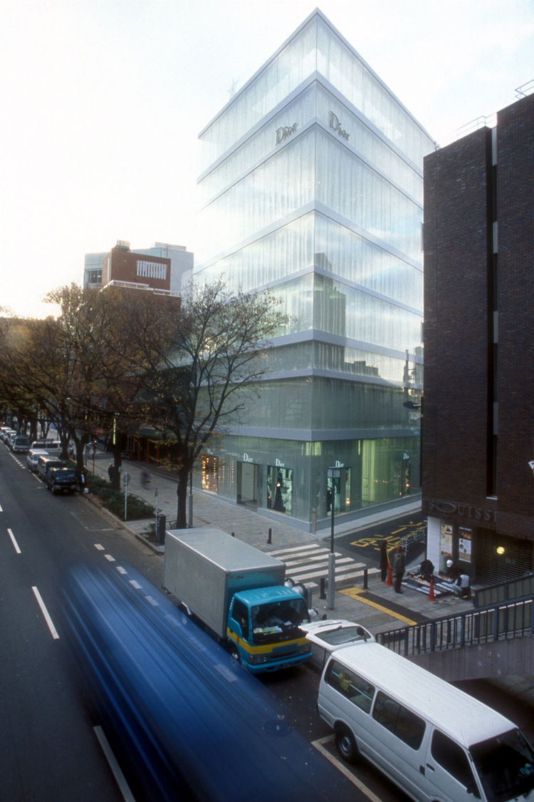 Though much of Sanaa's work is in the institutional realm, in the early 2000s, the firm designed the Christian Dior Building in the Omotesando district of Tokyo. Photo by Hisao Suzuki. Courtesy Sanaa.