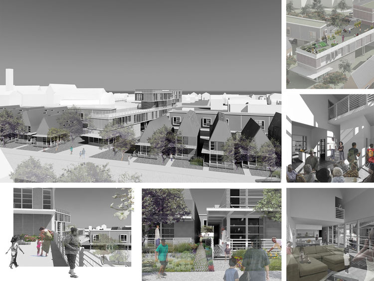 Community City:  Between Building and Landscape. Affordable Sustainable Infill for Smoketown in Louisville, Kentucky. Designed by Marilys R. Nepomechie Architect + Florida International University and Marta Canavés Design. Winner of the 2011 Institute Hon