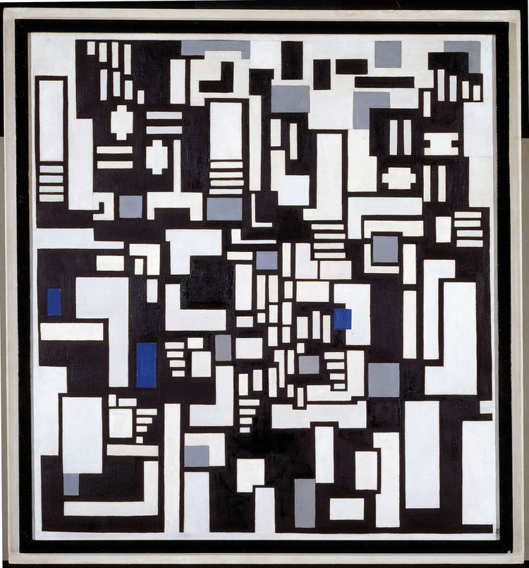 "<i>Composition IX, Opus 18: ""Decomposition"" of The Card Players</i> (1917) by Theo van Doesburg. On display at the Tate Modern in London through May 16, 2010, as part of the <i>Van Doesburg and the International Avant-Garde: Constructing a New World</i> e"