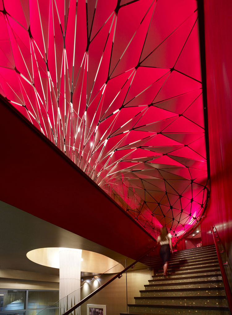 "The Conga Room in Los Angeles, California. Designed by Belzberg Architects. Winner of the 2011 Institute Honor Award for Interior Architecture. Project description: ""In an effort to meet the clients aesthetic desires for a ceiling that reflected the vibra"