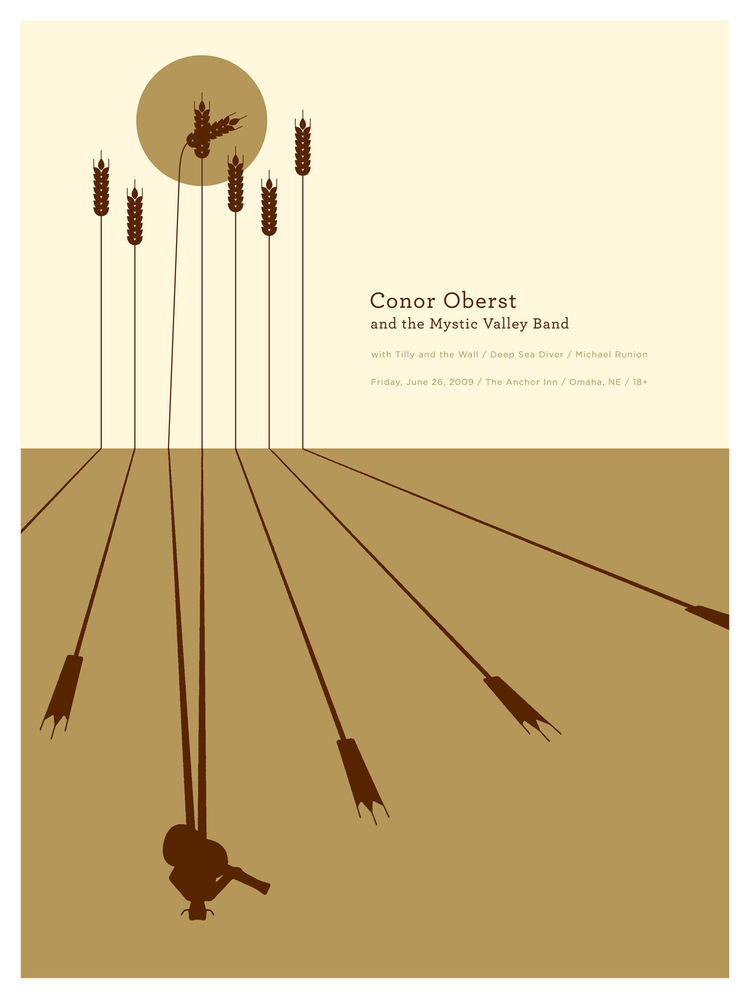 Poster for Conor Oberst and the Mystic Valley Band with Tilly and the Wall, Deep Sea Diver, and Michael Runion (2009) by Jason Munn. Three-color silk screen. 18x 24 inches. From <i>The Small Stakes: Music Posters</i> published by Chronicle Books.