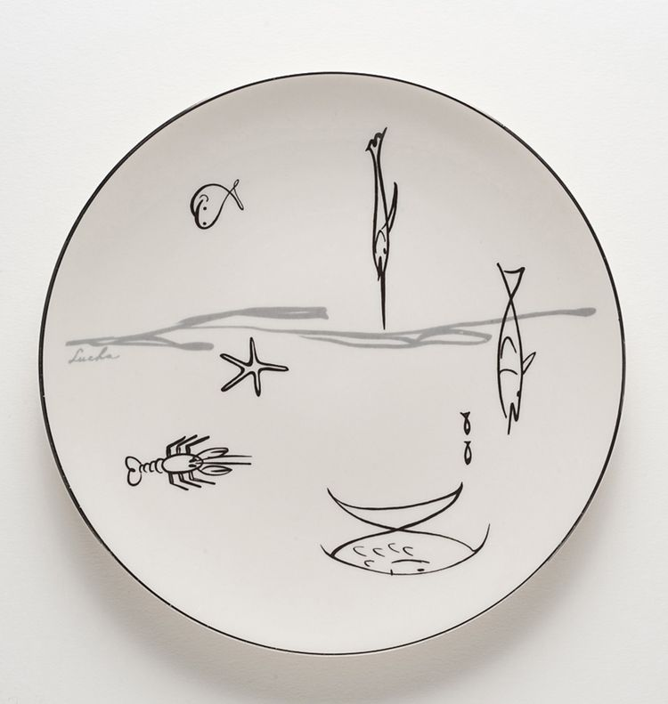 Conversation line dinner set with aquarium, antenna, and music patterns by Lucha circa 1953 for the Flintridge China Company in Pasadena, California.