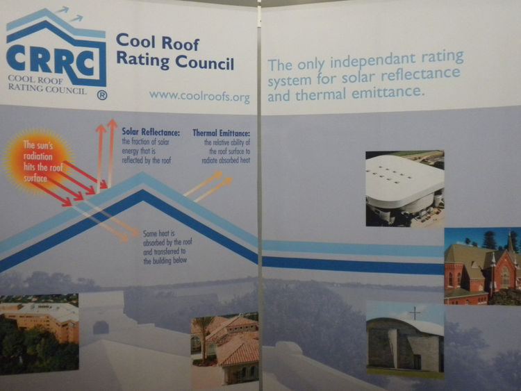"""Representatives from the <a href=""""http://www.coolroofs.org/"""">Cool Roof Rating Council</a> were on hand sharing information about the nonprift, which rates reflectivity of roofs and publishes and makes available for free the information online. <a href=""""ht"""