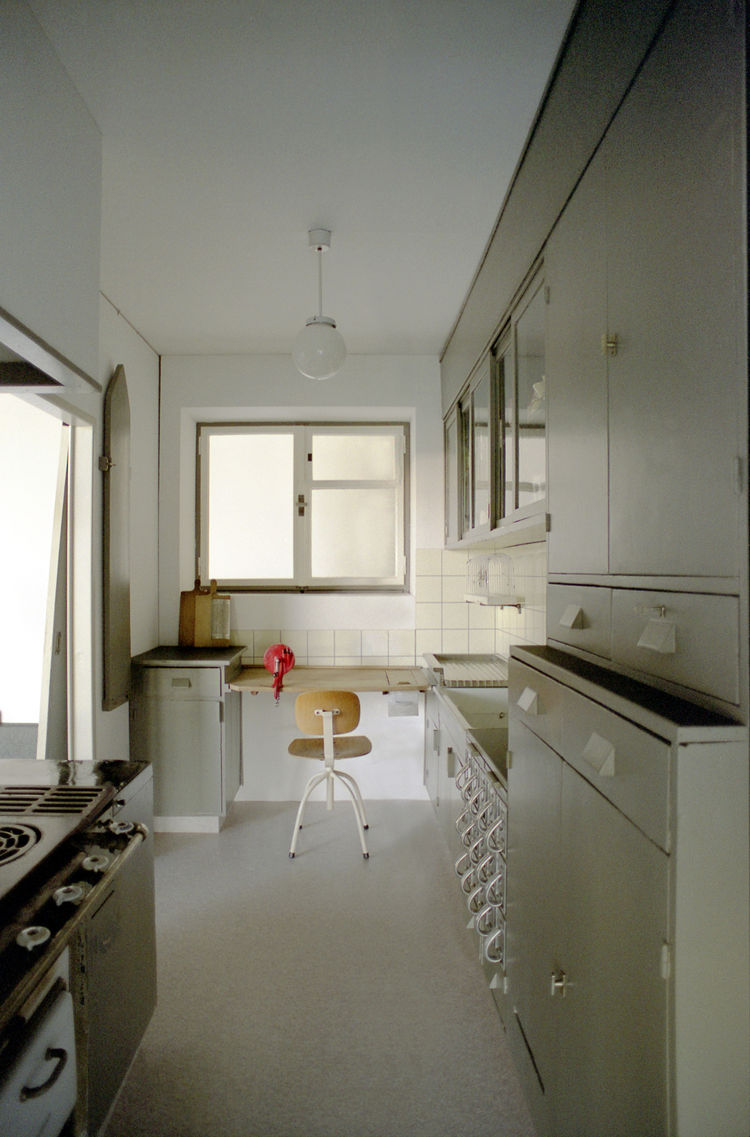 Here the Frankfurt Kitchen as reconstructed and on view at the MoMA.