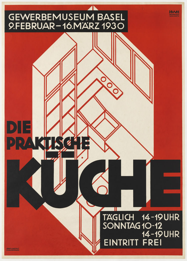 "This poster advertising ""the practical kitchen"" was designed by Helene Haasbauer-Wallrath for an exhibit in Basel, Switzerland in 1930."