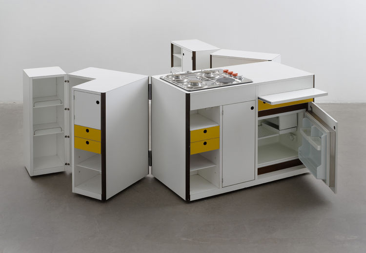 Italian Virgilio Forchiassin's 1968 Mobile Kitchen Unit folds up into a manageable box when you're through with it.