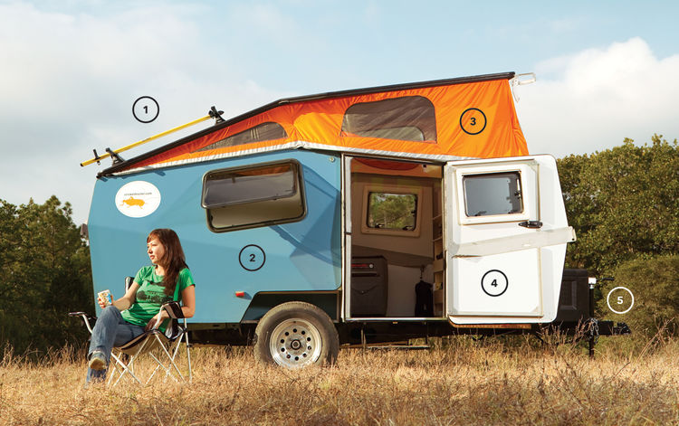 The trailer is Finney's response to bigger-is-better RV culture. Each one weighs between 1,000 and 1,500 pounds and costs from $10,000 to just under $18,000 depending on how heavily it's outfitted. The model I camped in came equipped with a roof rack (1)