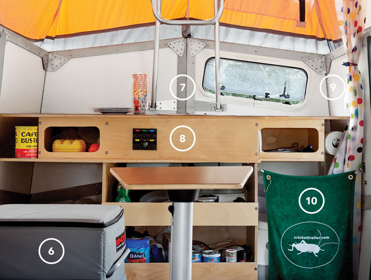The interior is surprisingly spacious despite being jam-packed with features, like a 43-quart-capacity fridge (6), a built-in sink with a hinged cover that folds down flush with the laminate countertop (7), power switches and outlets (8), a handheld showe