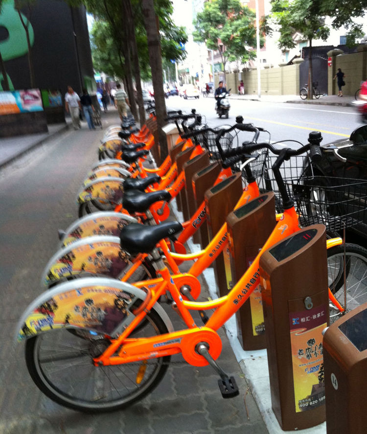 """Shanghai boasts a bike-sharing program similar to <a href=""""http://www.velib.paris.fr/"""">Vélib'</a> in Paris and <a href=""""http://www.bixisystem.com/"""">Bixi</a> in North American cities like Montreal and Washington, D.C. Shahid, however, didn't see any of the"""