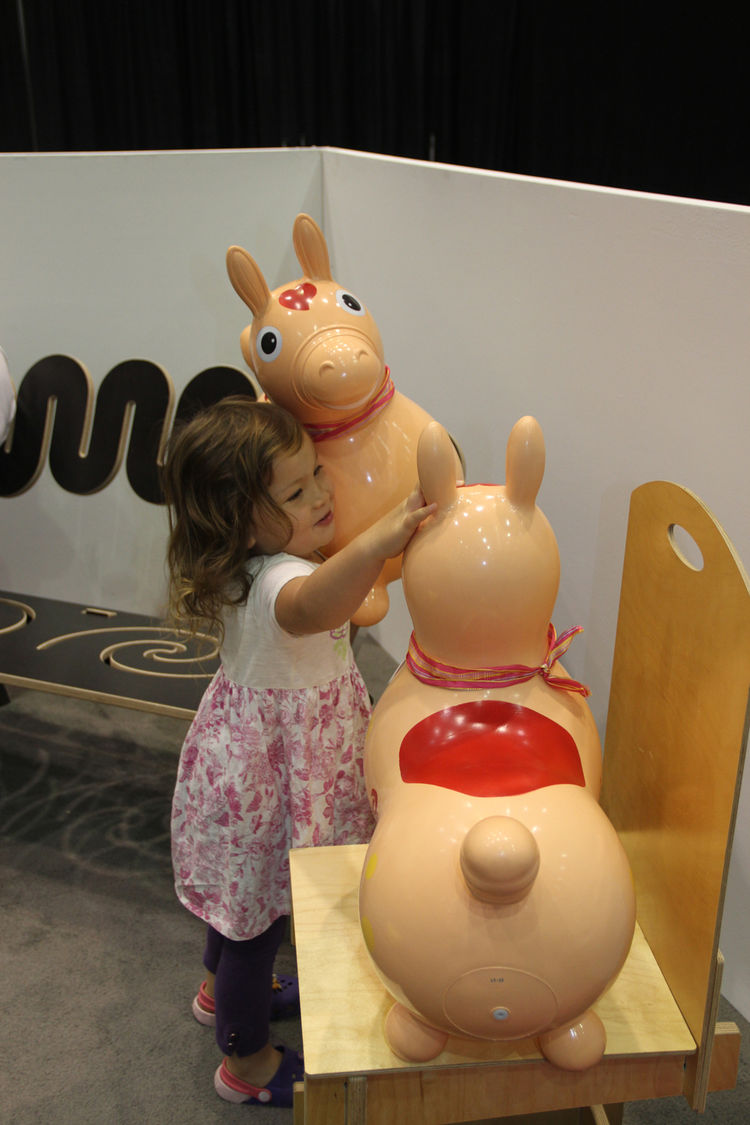 "A small visitor tries out a non-toxic rubber Rody horse from <a href=""http://www.plastica.com"">Plastica</a>."