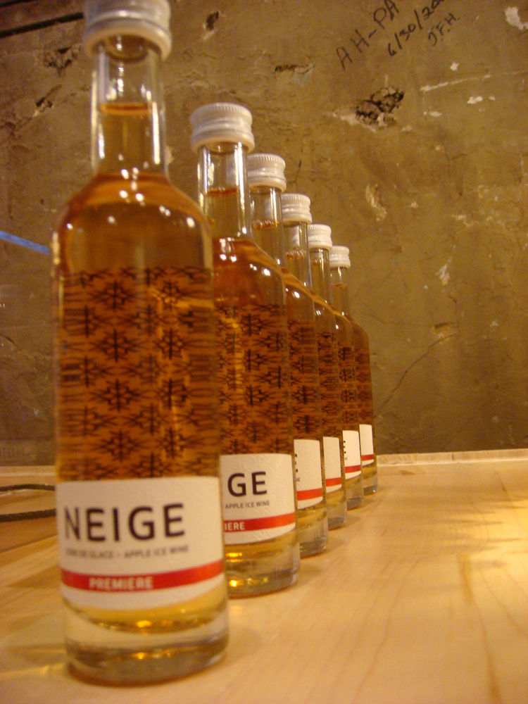 These little bottles hold apple ice wine, a popular local drink.