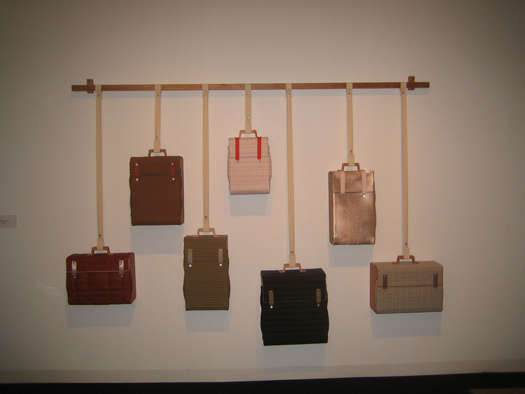 The first thing that caught my eye entering the tent was Lotty Lindeman's Tassenkast collection of luggage.