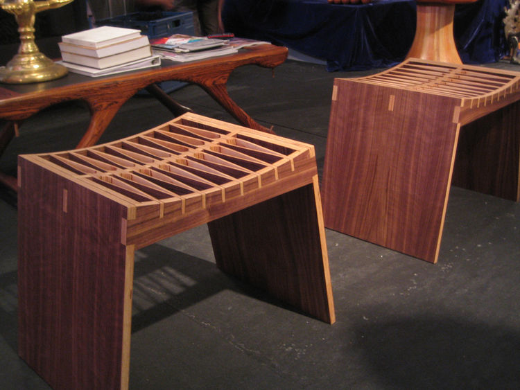 This pair of bent birch wood stools is from contemporary Mexican designer Emiliano Godoy. At around $750 each Kilner called them some of the best bargains in his show, and noted that Godoy is one of the best living Mexican furniture designers. Made of a t