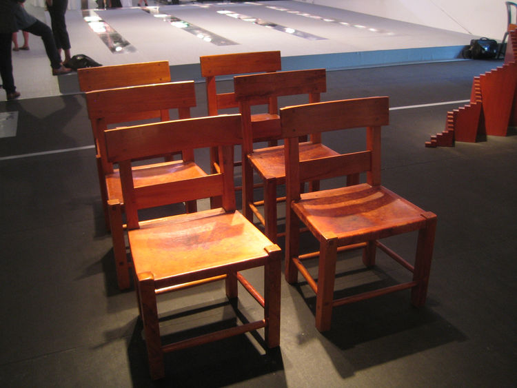 This sextet of chairs caused a bit of controversy with regards to attribution. The Design Miami powers that be say that architect Luis Barragan never designed any furniture, yet Kilner assured me they came from the master's hand. So in the interest of spl