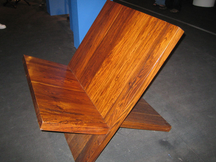 "I think this is my favorite of the Don Shoemaker pieces. Kilner called it the ""X Chair,"" and considering it's little more than two large slabs of cocobolo, it's hard to argue. What was most surprising, however, was how shockingly comfortable it is. Shoema"
