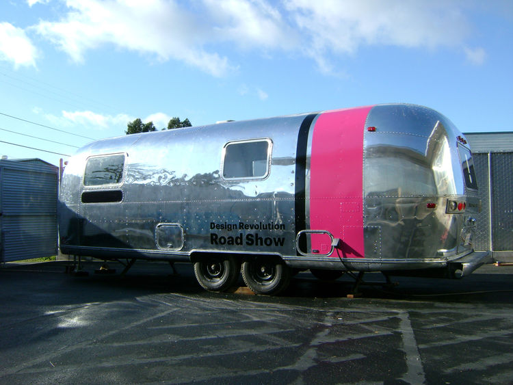 "The star of the Design Revolution Road Show is Pilloton and her partner's vintage Airstream trailer. ""The Airstream is just awesome. The exhibition turned out really great, the products are fascinating, and the trailer has a big pink stripe that you can't"