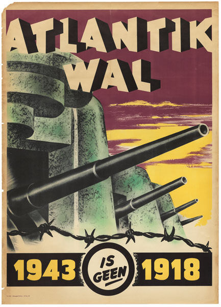 "This German poster draws a parallel between the first and second World Wars, presumably to encourage Germany on to victory. <br /><br />""Atlantic Wall; 1943 is not 1918"", German poster printed in the Netherlands, 1943.<br /><br /><p><em><strong>Don't miss"