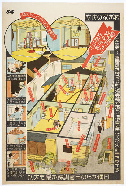 "This Japanese infographic describes what to do in the event of an air raid. <br /><br />""Guideline for an Air Raid"", Tokyo, 1943, The Wolfsonian-Florida International University, Miami Beach, Florida, The Mitchell Wolfson, Jr. Collection."