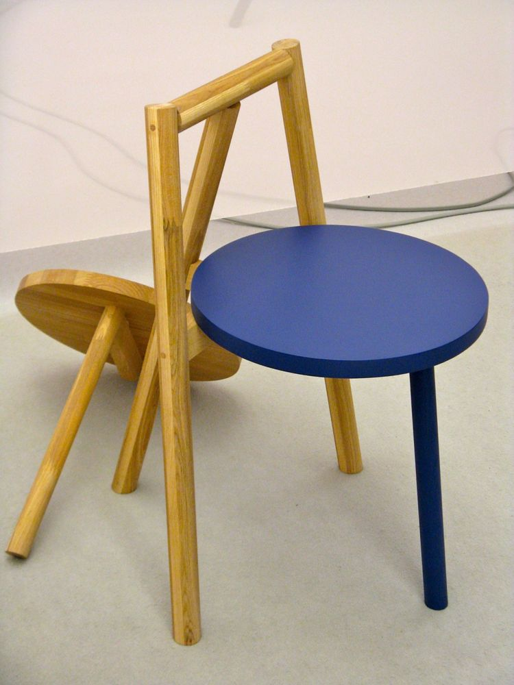 "The seat and front leg of this Japanese ash chair by Atsushi Suzuki screw off and can be replaced with seats and legs in other colors. The chairs are part of Osaka woodwork and design company <a href=""http://www.laugh-woodwork.com""> laugh's</a> Laugh's ne"