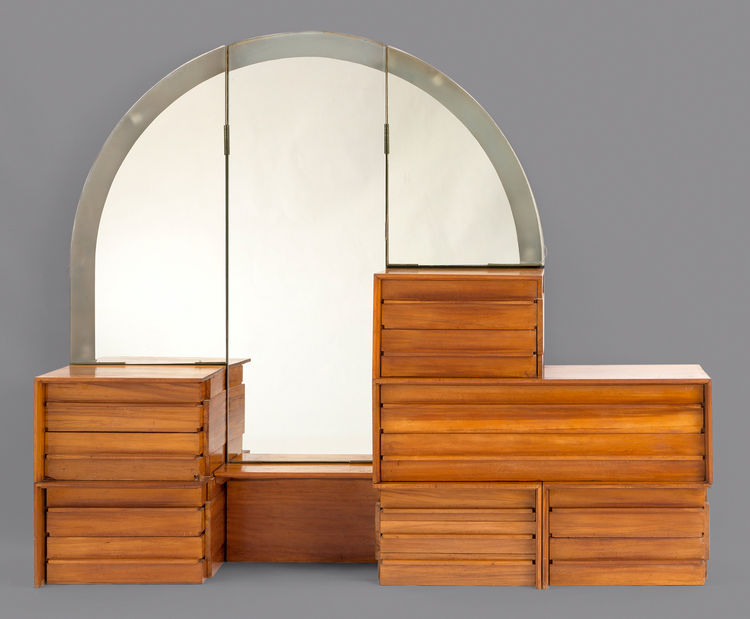 A gunwood dresser with a mirror by R.M. Schindler, made for the Ruth Shep house in Silver Lake, circa 1934–38. Schindler created several house designs for Shep before settling on the later design, for which he also designed furnishings.