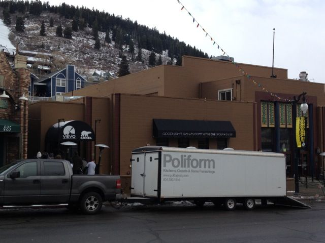 Brent Jespersen and Ryan Church, the gents at Poliform SLC, provided the furniture for the lounge, and it turns out their delivery system is as modish and welcome as the stylish furniture. Here it is loading into the space on Main Street in Park City.