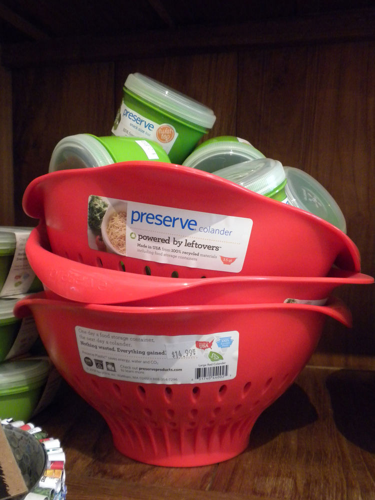 "The store also features a number of products by <a href=""http://www.preserveproducts.com"">Preserve</a>. ""I sell them because I want to support the company,"" Reimers says. Food-grade number five plastic is one of the least reused plastics (less than two pe"