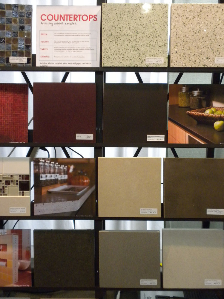 """<a href=""""http://www.ecohaus.com/"""">Ecohaus</a> displayed its range of sustainable products, ranging from flooring to finishes to countertops. Among its counter surfaces were wood products from <a href=""""http://www.windfalllumber.com/"""">Windfall Lumber</a>, a"""