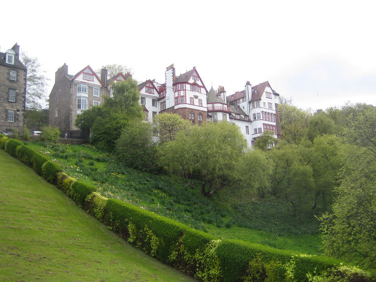 Looking up at Ramsay Gardens from below. Unlike anything in America.