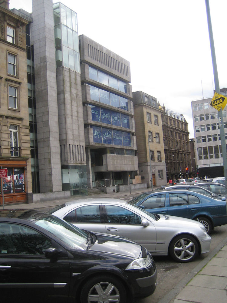 Though New Town in Edinburgh is primarily Victorian, a couple modern buildings have snuck in. This Brutalist structure was vacant when I walked past it on St. Andrew's Square. In the windows were massive quotes from Robert Louis Stevenson and GK Chesterto