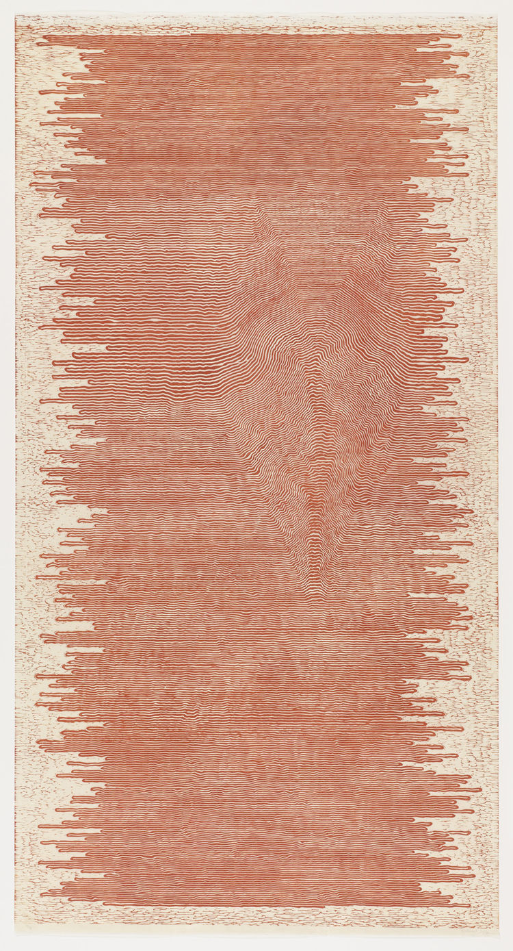 "Paul Edmunds (South African, born 1970). <i>The same but different</i>. 2001. Linoleum cut, sheet: 71 11/16"" × 37 5/8"". Image courtesy MoMA."