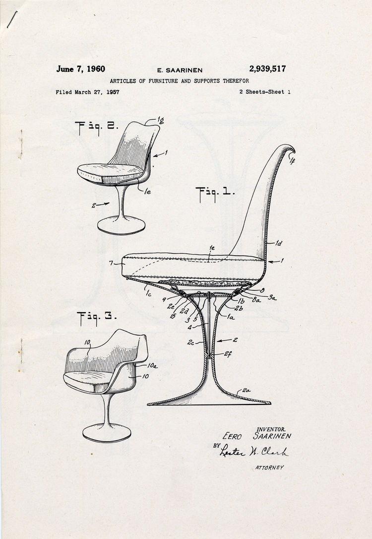 """Patent drawing for pedestal chairs (1960) by Eero Saarinen, on display at the <a href=""""http://www.mcny.org"""">Museum of the City of New York</a> through January 31, 2010. Image courtesy of the Eero Saarinen Collection at Yale University and the Finnish Cult"""