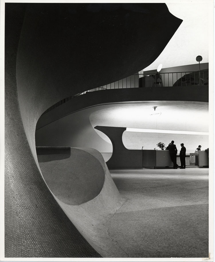 """Photo of the TWA Terminal, New York International (now John F. Kennedy International) Airport (1962) by Eero Saarinen, on display at the <a href=""""http://www.mcny.org"""">Museum of the City of New York</a> through January 31, 2010. Image by Balthazar Korab an"""