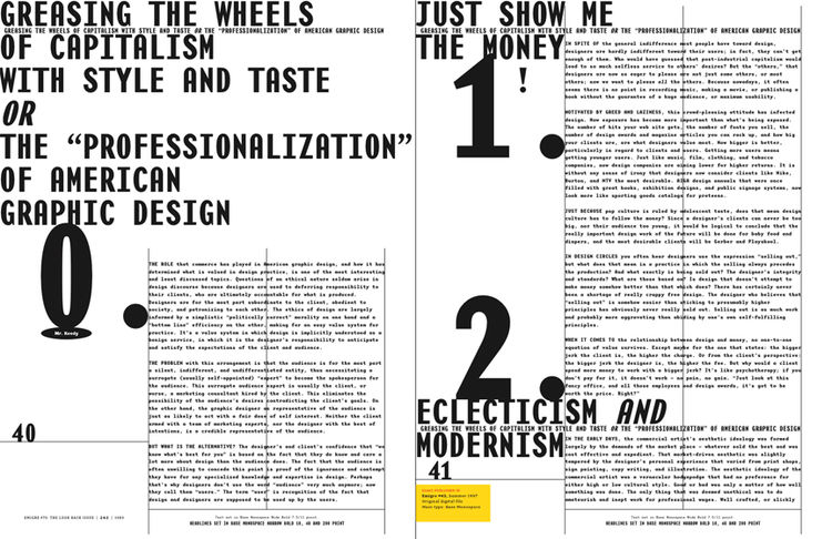 <i>Emigre No. 70</i>, book spread showing reprints from issue no. 43