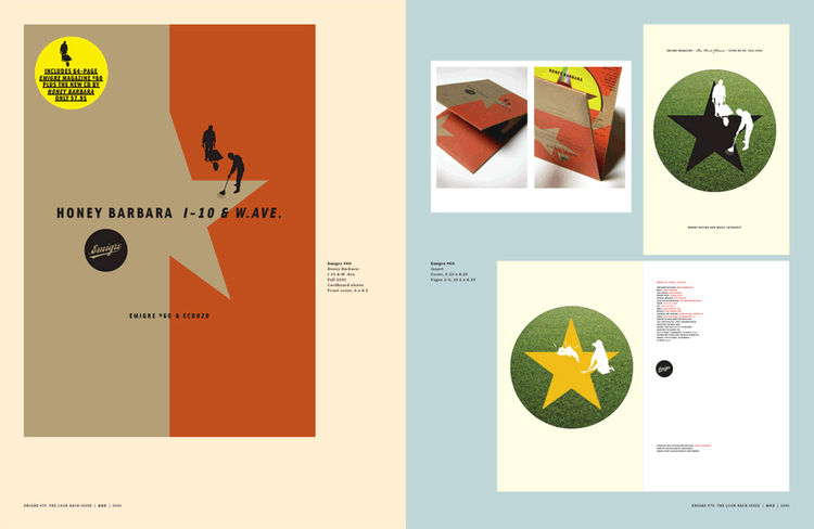 <i>Emigre No. 70</i>, book spread showing scaled reprints from issue no. 60
